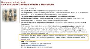 Il sito del Consolato italiano a Barcellona
