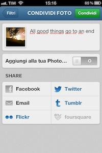 Titolo e pubblicazione foto Instagram