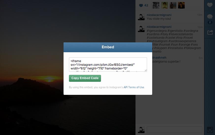 instagram inserire foto nel blog