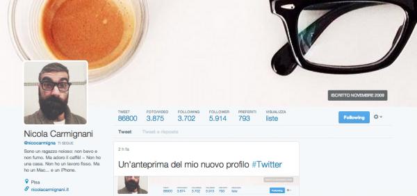 La nuova grafica del profilo Twitter assomiglia a Facebook